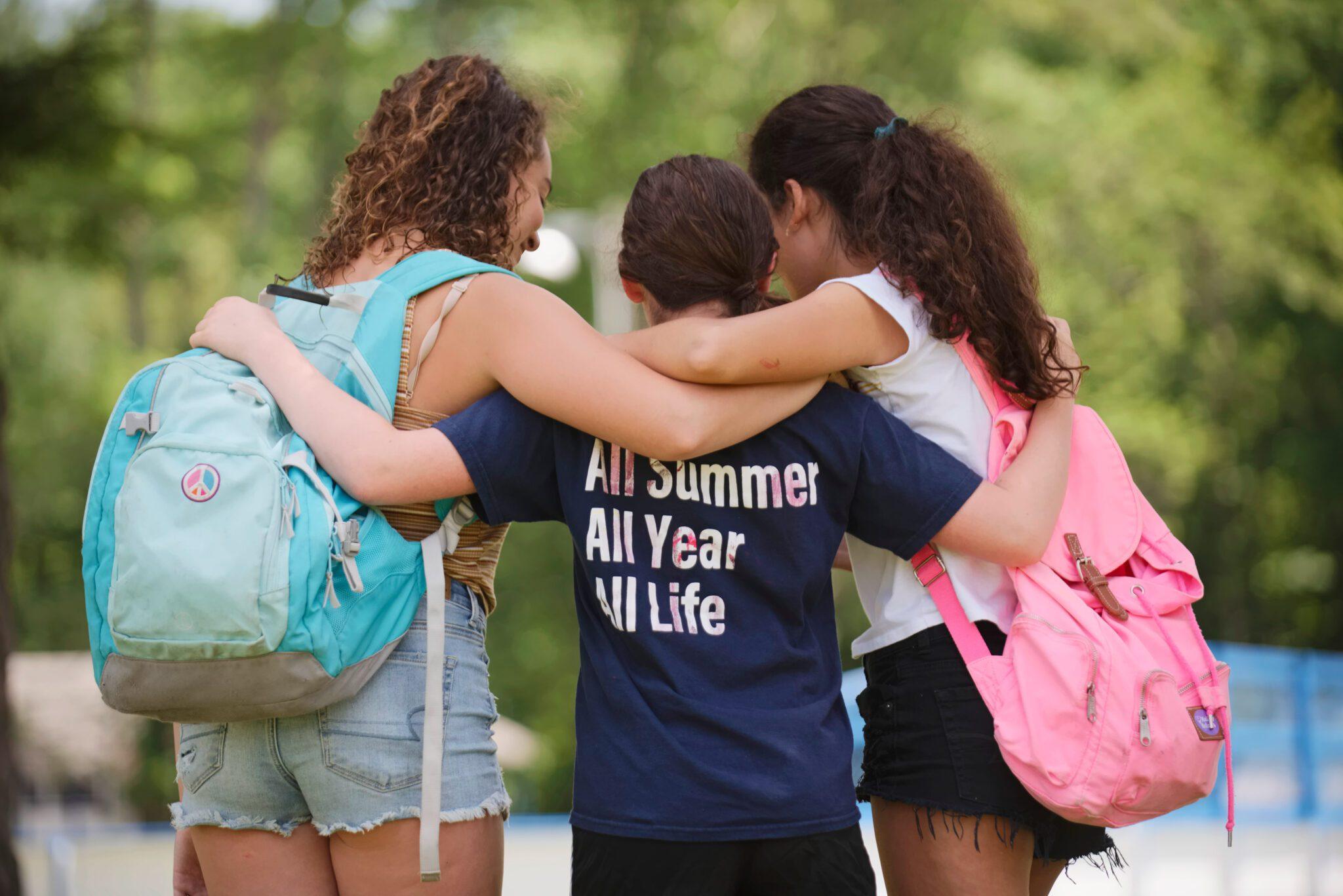 Three children at a Jewish summer camp